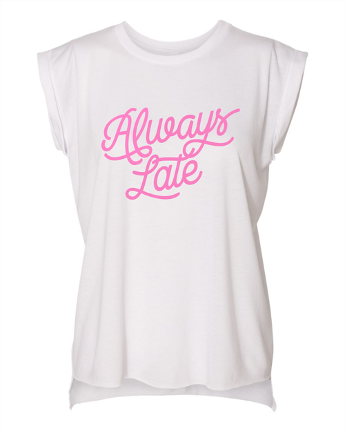 Always Late Rolled Cuff Tank - orangeshine.com