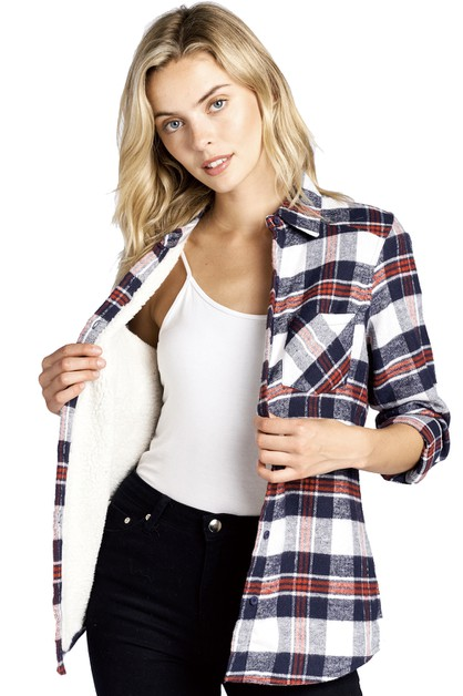 LADY FLEECE PLAID FLANNEL SHIRTS - orangeshine.com
