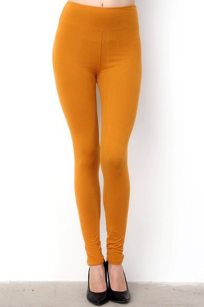 HIGH-WAIST SOLID BRUSHED LEGGINGS - orangeshine.com