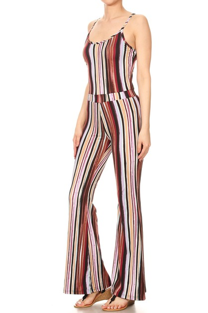 Stripes Boho Wide Leg Jumpsuit Soft - orangeshine.com