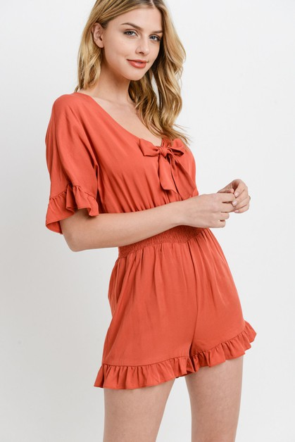 Front Lace Smocking Ruffled Romper  - orangeshine.com