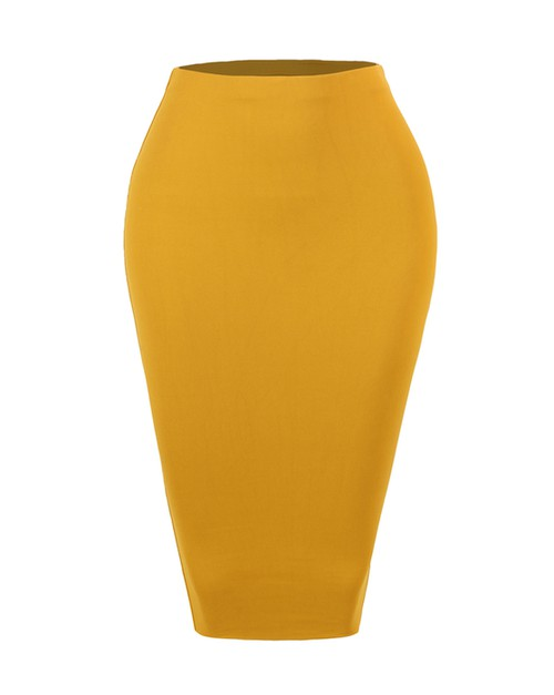 STRETCH KNIT BODYCON MIDI SKIRT - orangeshine.com