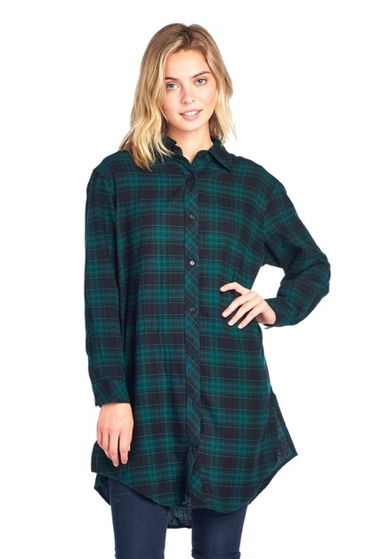 OVERIZED PLAID FLANNEL SHIRT - orangeshine.com