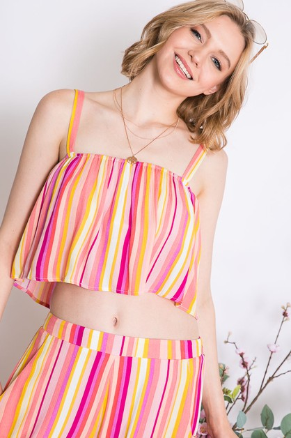 MULTI VIVID RAINBOW STRIPED CROP TOP - orangeshine.com