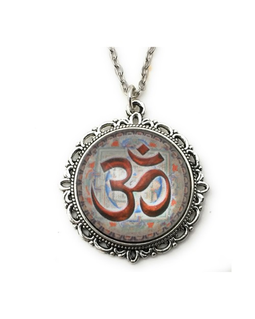 Ohm Symbol Necklace - Gray and Red - orangeshine.com