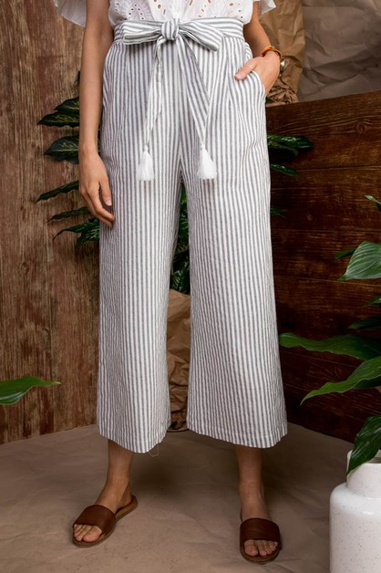 BELTED WOVEN PANTS WITH TASSEL - orangeshine.com