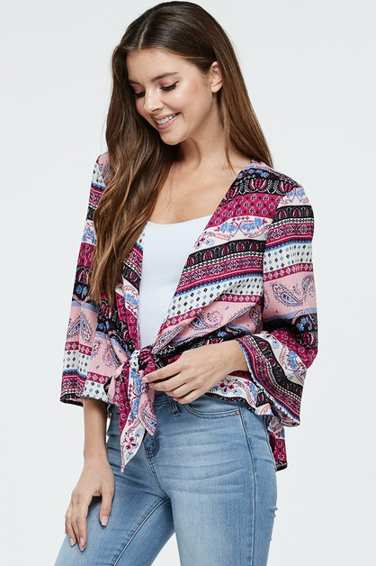 Short Sleeve Print Woven Cardigan - orangeshine.com