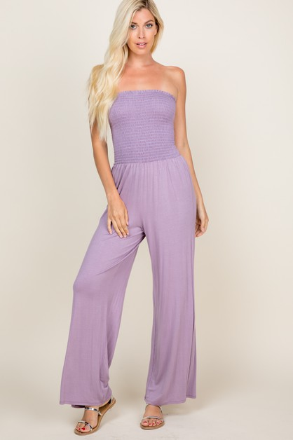 OPEN SHOULDER SMOCKED JUMPSUIT - orangeshine.com