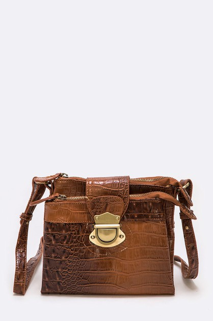 Croc Embossed Crossbody Bag - orangeshine.com