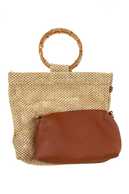 2 IN 1 RING HANDLE WOVEN FASHION BAG - orangeshine.com