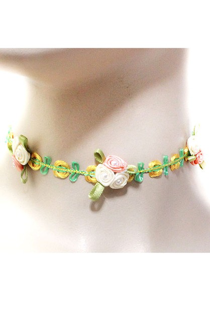 Floral Lace Choker Necklace Set - orangeshine.com