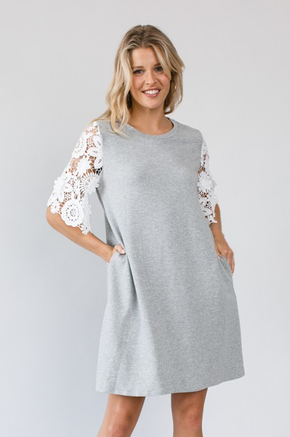 LACE SL ROUND NECK SIDE POCKET DRESS - orangeshine.com