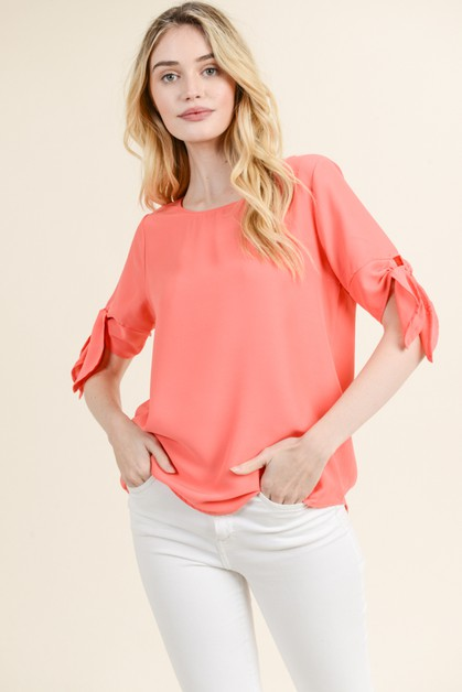 Solid Top with Bow Detail - orangeshine.com