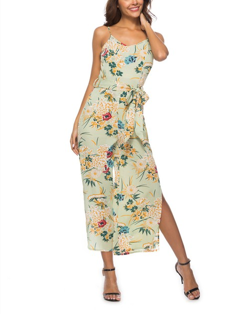 Sleeveless Floral Jumpsuits - orangeshine.com