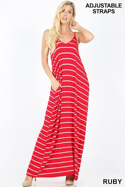 STRIPED V-NECK CAMI MAXI DRESS - orangeshine.com
