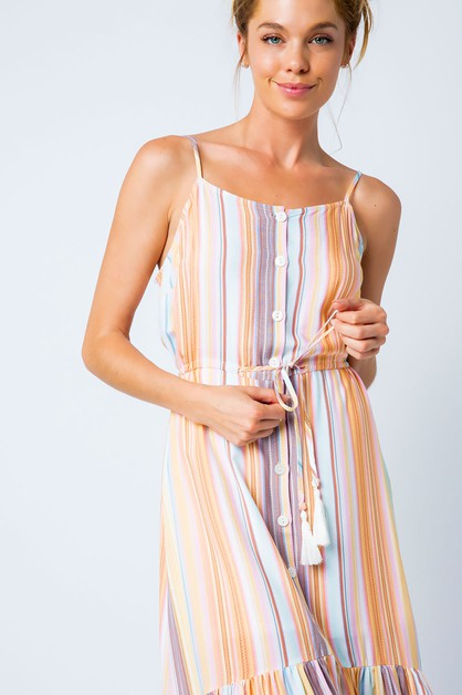 MULTI STRIPED BUTTON DOWN DRESS - orangeshine.com