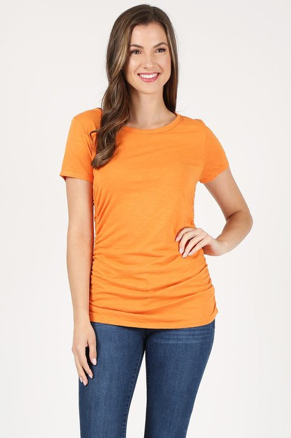 ROUND NECK SIDE SHIRRING T-SHIRTS - orangeshine.com