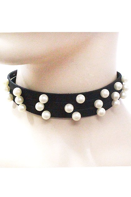 Suede Choker Pearls Necklace Set - orangeshine.com