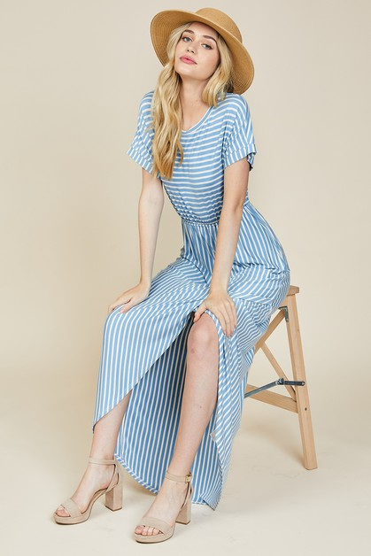 Stripe Tulip Midi Dress - orangeshine.com
