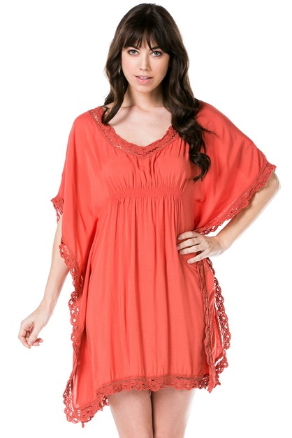 Woven Scoop Neck Laced Short Dress - orangeshine.com