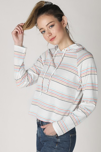 Multi Striped Hoodie - orangeshine.com