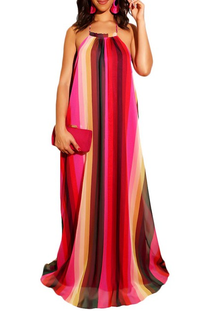 STRIPE OR FLORAL HALTER MAXI DRESS - orangeshine.com