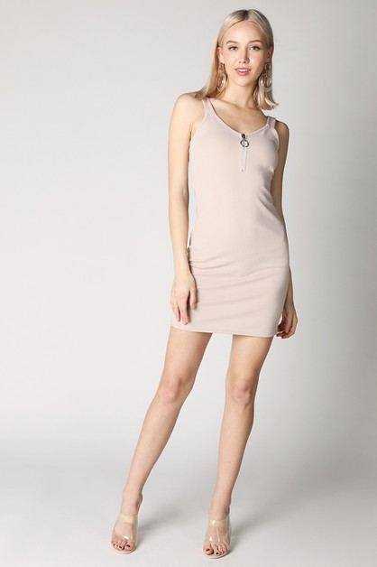 Front Zipper Dress - orangeshine.com
