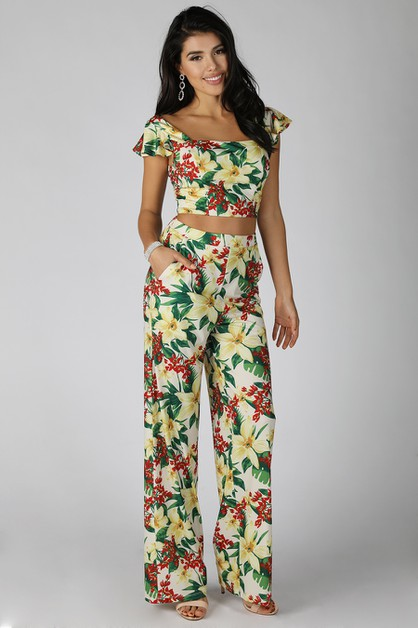 2 Piece Set Floral Print Wide Leg Pa - orangeshine.com