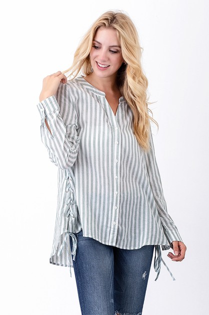 Stripe lace-up shirt - orangeshine.com