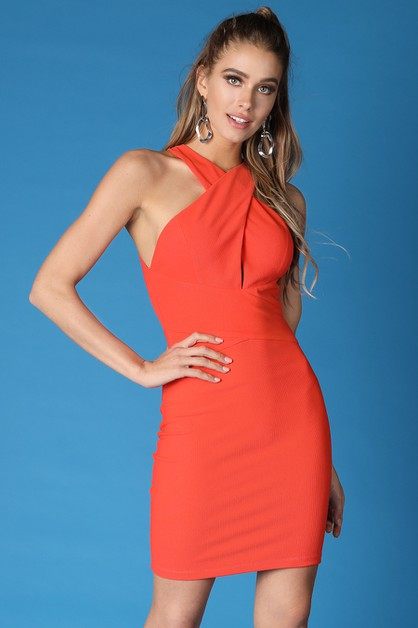 Cross Halter Neck Solid Dress - orangeshine.com