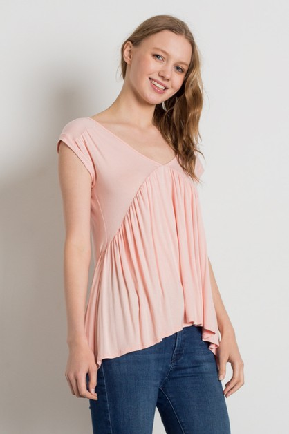 Knit Babydoll V-Neck Loose Fit Top - orangeshine.com