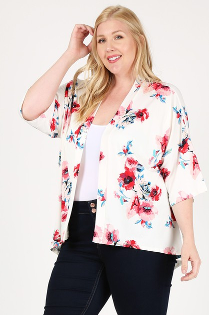 Plus Floral Short Sleeve Cardigan - orangeshine.com