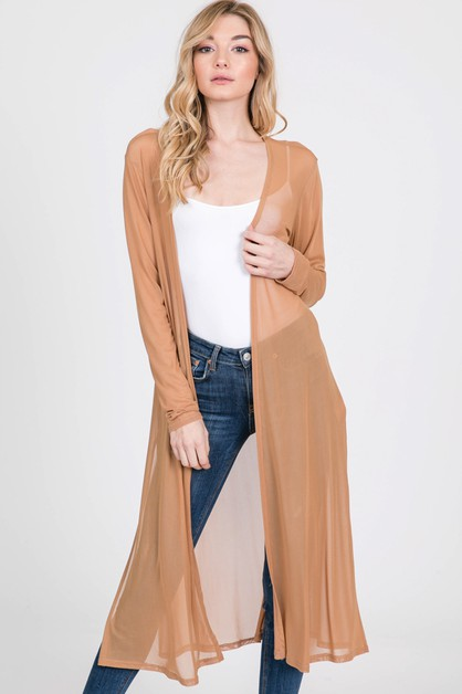MESH KNIT SIDE SLIT DUSTER CARDIGAN - orangeshine.com