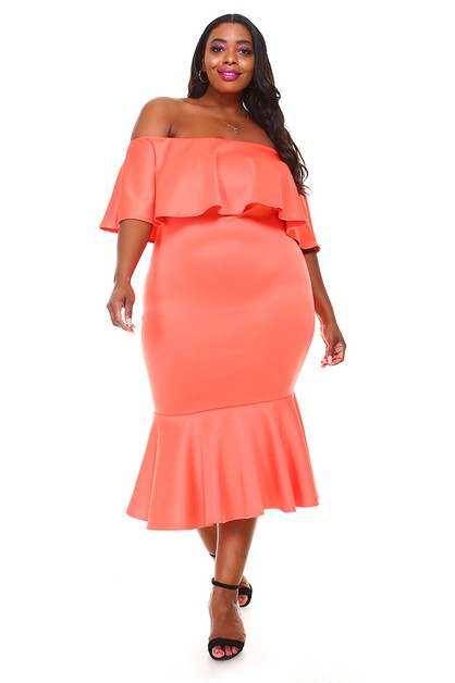 c91e50d292 Plus Size Off Shoulder Ruffle Dress - orangeshine.com