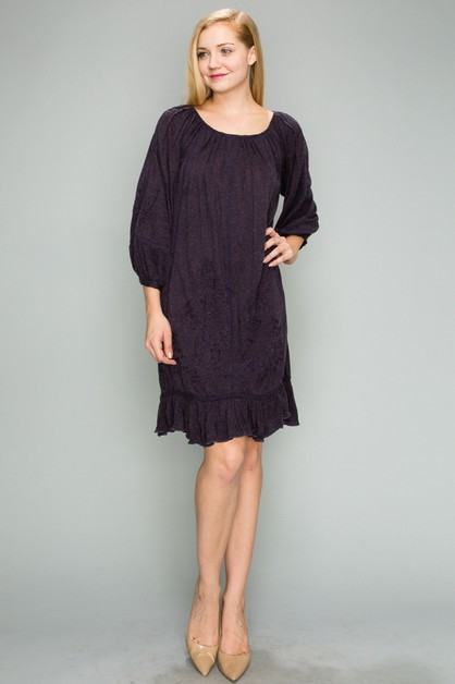 Oversize Embroidered Tunic Dress - orangeshine.com