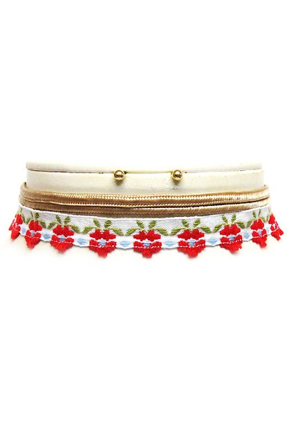 Double Layered Floral Choker Set - orangeshine.com