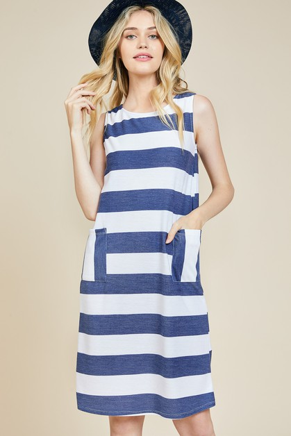 Stripe Sleeveless Shift Dress - orangeshine.com