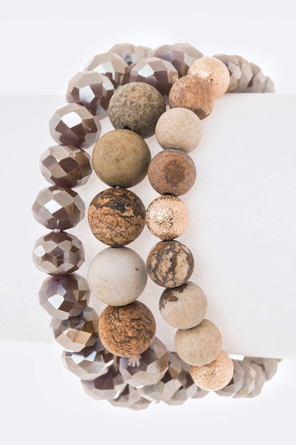 Mix Natural Beads Stretch Bracelet S - orangeshine.com