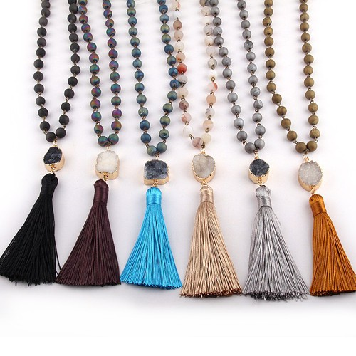 Rosary Druzy Tassel Necklace - orangeshine.com