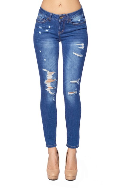 Lady Ripped Blue Skinny Jeans - orangeshine.com