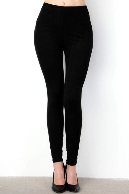 SOFT PEACHSKIN SOLID ANKLE LEGGINGS - orangeshine.com