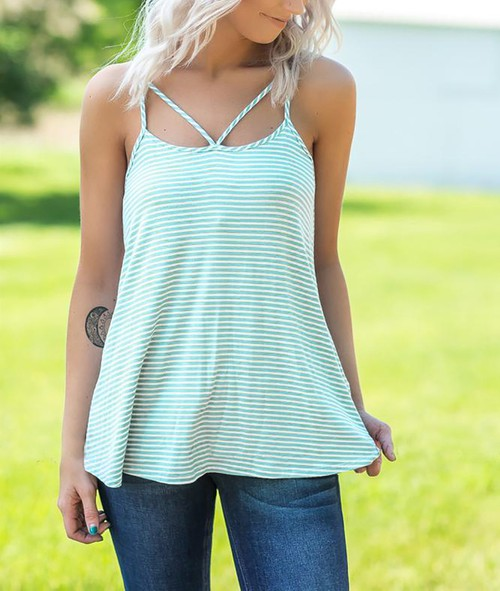 Criss Cross Striped Cami Top - orangeshine.com