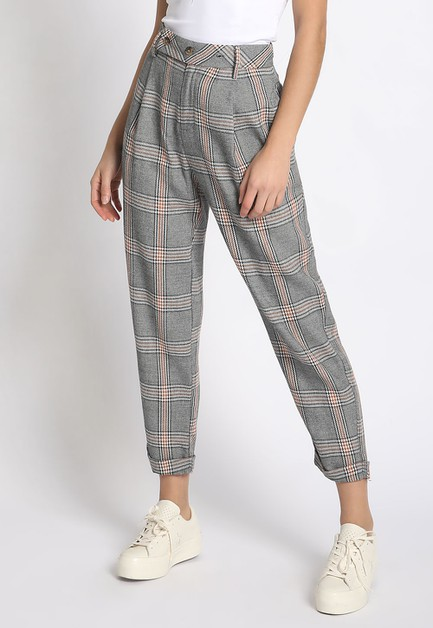 PLAID CROPPED TROUSERS - orangeshine.com