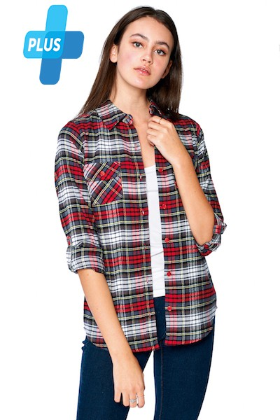 PLAID FLANNEL LONG SLEEVE-PLUS SIZE - orangeshine.com