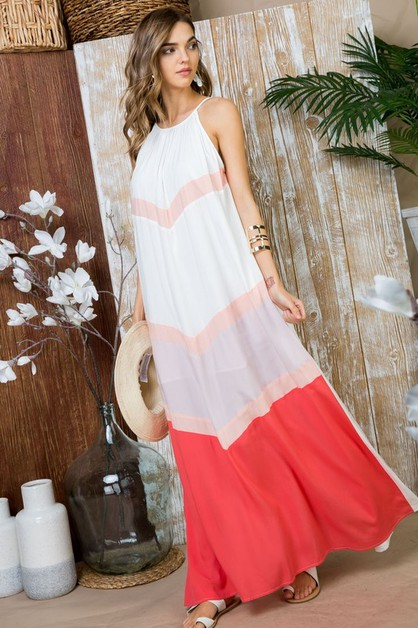 Color Block Maxi Dresses - orangeshine.com