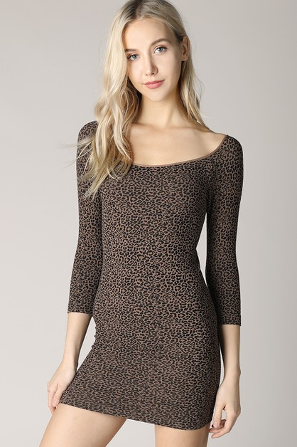 Cheetah Print 3 4 Sleeve Dress - orangeshine.com