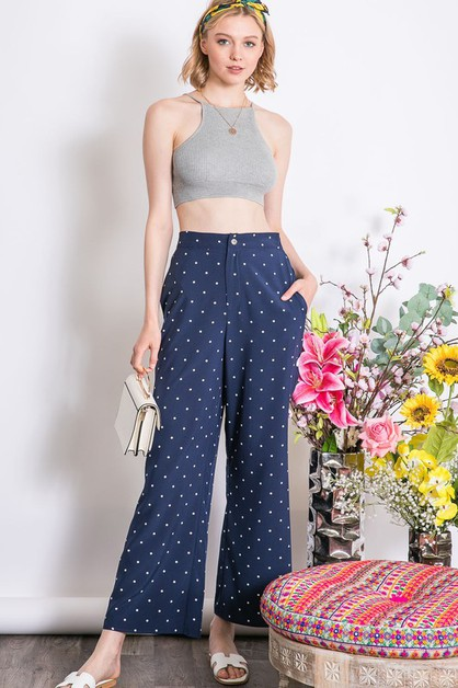 CUTE POLAK DOT WIDE LEG OVERALLS - orangeshine.com
