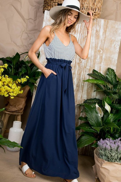 Striped Color Block Hi Waist Maxi Dr - orangeshine.com