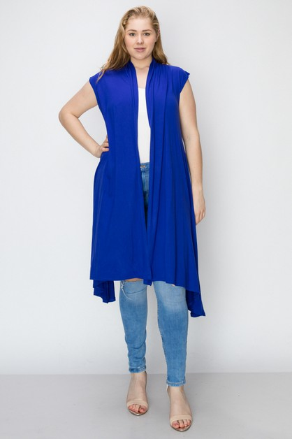 PLUS SIZE SOLID LONG BODY CARDIGAN - orangeshine.com