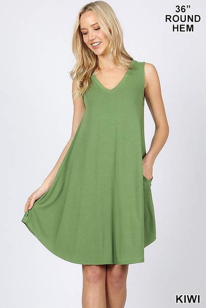 V-NECK SLEEVELESS ROUND HEM A LINE - orangeshine.com